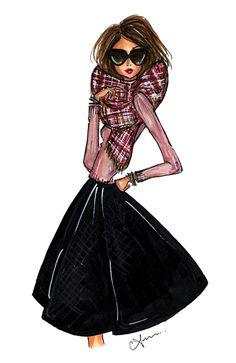 Fashion Illustration Print, Plaid Scarf by anumt on Etsy https://www.etsy.com/listing/208627399/fashion-illustration-print-plaid-scarf