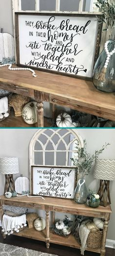 Gorgeous!! They broke bread in their homes and ate together with glad and sincere hearts - Acts 2:46. Perfect for my dining room! #farmhouse #ad #farmhousedining #walldecor