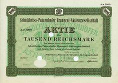 HWPH AG - Historische Wertpapiere - Schultheiss-Patzenhofer Brauerei-AG Berlin, Januar 1928, Muster einer Aktie über 1.000 RM, o. Nr