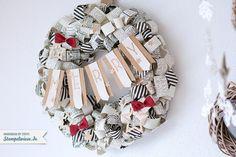 Stampin' Up! - Christmas - Wreath - Türkranz - Papierlocken - Designerpapier - Erstausgabe - Typeset ❤ Stempelwiese