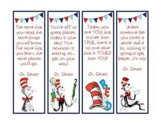 Dr Suess Books, Dr Seuss Week, Diy Bookmarks, Reading Bookmarks, Dr Suess Quotes, Student Self Assessment, Dr Seuss Crafts, Dr Seuss Activities, Dr Seuss Birthday Party