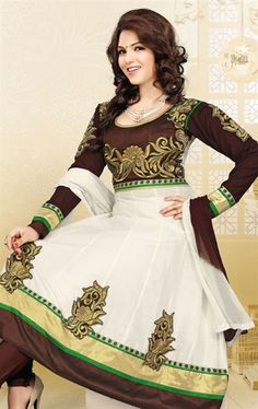 Picture of Marvelous Coffee and Off White Anarkali Salwar Suit