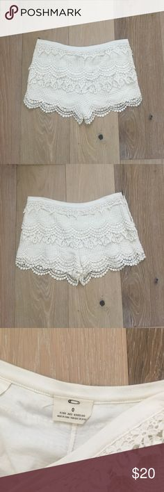 Urban Outfitters cream colored crochet shorts White lace crochet shorts from urban outfitters size 0. Great condition! Great for summer! Urban Outfitters Shorts