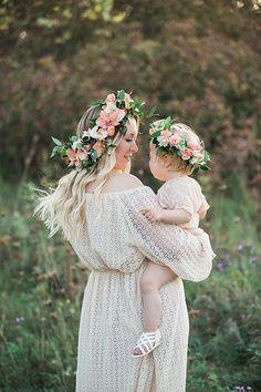 Flower crown maternity photos