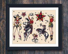 Cowgirl und Cowboy Tattoo Flash druckbare Wandkunst, Mens Geschenk, groß dimensionierte Tattoo Wandkunst, Sailor Jerry Tattoo, Pferd Home Decor (#7771b)