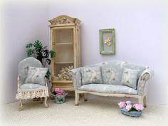 Dollhouse miniature Shabby Cottage Sofa and Armchair by MiniAbuela