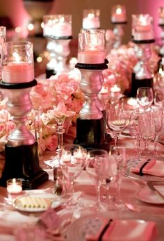 table settings. We could paint cheap candle pedestals pink in the middle and black?