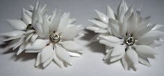 Vintage White Earrings Plastic and Rhinestone by purrfectstitchers, $5.00