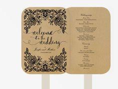 Wedding Fan Program | Editable MS Word Template DIY | Kraft white text | lace black | Kraft