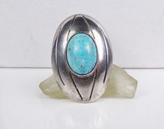 Old Taxco Sterling Silver Turquoise Ring Modernist Mexico Eagle Assay Bold Long #Unknown