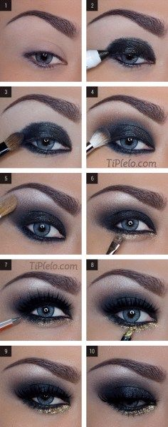 Step of Beautiful Black Smoky Eyes Makeup!!