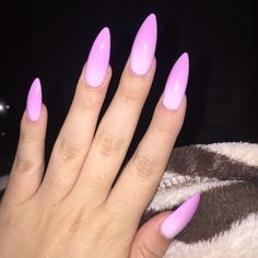 Baby pink to white color changing ombré stiletto nails