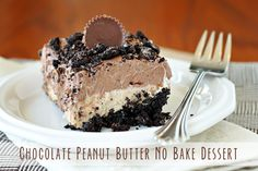 Introducing a layered chocolate pudding dessert with peanut butter cups and crumbled Oreo cookies. This is an easy no-bake chocolate recipe that is ready after a 3 hour set in the refrigerator! Chocolate Peanut Butter No-Bake Dessert Submitted by D Peanut Butter Cups, Peanut Butter Dessert Recipes, Cake Recipes, Yummy Recipes, Butter Recipe, Baking Recipes, Layered Desserts, Köstliche Desserts, Chocolate Desserts