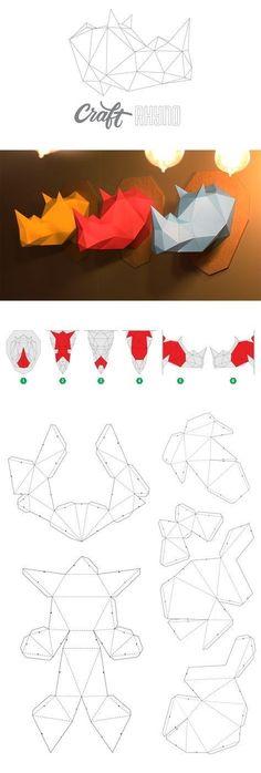 Papercraft Rhinoceros Head printable DIY template - Sculpture - Print the sulpture yourself - Papercraft Rhinoceros Head printable DIY template 3d Paper Crafts, Paper Crafts Origami, Origami Art, Paper Toys, Diy Paper, Paper Crafting, Diy Crafts, Paper Cards, Handmade Crafts