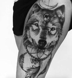 Beautiful dotwork wolf tattoo by Jonas Lima