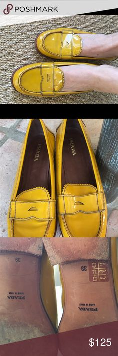 Authentic Prada penny loafers Patent leather Yellow Prada penny loafers with lots of life left in them soles! There's some wear and scuffing on the sides - easy to remedy. Beautiful runway yellow. Prada Shoes Flats & Loafers