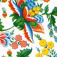 Primavera on white Mexican oilcloth pattern