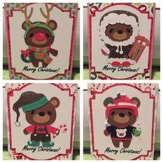 Christmas Bears (using Teddy Bear Parade) - Julie Cricut Christmas Cards, Christmas Paper Crafts, Cricut Cards, Christmas Gift Tags, Xmas Cards, Diy Cards, Christmas Themes, Scrapbook Cards, Scrapbooking