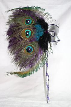 Peacock & Purple Feathers Mardi Gras Mask by SherisTimelessDesign