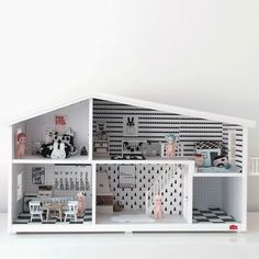 Black and white wooden doll house - in la petite mag, chloe uber kid-playroom