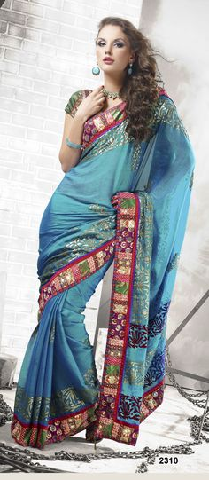 Khazanakart Heavy Worked Saree Chiffon and Brocade Saree in Blue Color