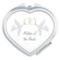 #MotherOfTheBride Wedding Favor #Dove Design #Compact Mirror