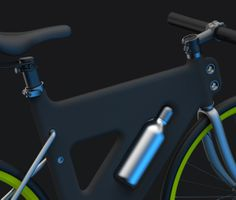 Details we like / Bicycle / Black / Green Tire Details / Integrated Bottle / Soft Surface / at Placha