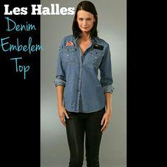 Les Halles Denim Embelem Button Down Shirt Brand new with tags. Les Halles Tops Button Down Shirts