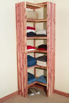 Solid aromatic red cedar organization system for your closet or kitchen pantry. Easy DIY assembly all wood corner shelving unit. #closetsystem #closetorganization #pantryorganization