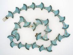Vintage-Margot-de-Taxco-Mexico-925-Sterling-Silver-Blue-Black-Enamel-Necklace