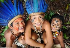 Joyful: Mr Lazar said he hoped the images - including this one of three Dessana children - would show an alternative view of Brazil, which will host the Olympics in 2016