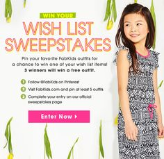 Win your wish list! 3 winners will receive an item from their wish list. Enter Now!
