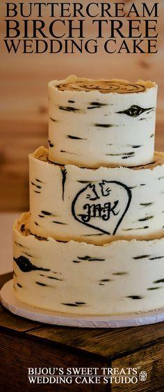 Buttercream Birch Tree wedding cake ideas by Bijou's Sweet Treats wedding cake studio. Birch Tree Cakes, Birch Tree Wedding, Painted Cakes, Cake Decorating Techniques, Buttercream Cake, Cake Tutorial, Creative Cakes, Cupcake Cakes, Cupcakes