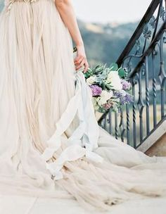 Lush lavender flowers for this wedding with a view Romantic Wedding Flowers, Floral Wedding, Wedding Photography Inspiration, Wedding Inspiration, Bridal Gowns, Wedding Gowns, Wedding Bouquets, Silk And Willow, Wedding In The Woods
