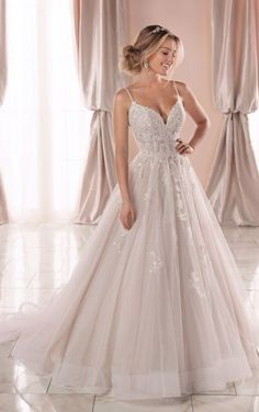 Dream Wedding Dresses Lace Sparkly Ballgown with Glitter Tulle - Stella York Wedding Dresses.Dream Wedding Dresses Lace Sparkly Ballgown with Glitter Tulle - Stella York Wedding Dresses Wedding Dresses With Straps, Cute Wedding Dress, Princess Wedding Dresses, Best Wedding Dresses, Bridal Dresses, Sparkly Wedding Dresses, Wedding Dress Sparkle, Klienfeld Wedding Dresses, Wedding Dresses Stella York