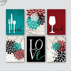 Kitchen Wall Art Print Set Eat Drink Love Flower Bursts Teal Burgundy Black Beige Tan Modern Decor Set of 6 Many Sizes Unframed Kitchen Canvas, Kitchen Wall Art, Modern Art Prints, Wall Art Prints, Burgundy Walls, Teal Kitchen Decor, Decorative Lines, Bathroom Art, Bathroom Ideas
