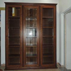 Mobile-libreria (240x260) in listellare di legno massello con ante ...