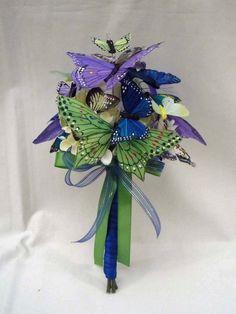 Green Blue & Purple Butterfly Wedding Bouquet