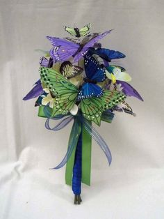 Green Blue & Purple Butterfly Wedding Bouquet by justanns on Etsy