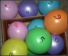 Directions: 1. Blow up 10 balloons. 2. Number them from 1 to 10. 3. Hide the balloons throughout the house- upstairs and downstairs. 4. Have your children work as a team to find the balloons in order. 5. If they find number 9, they aren't allowed to get that balloon. They must start at 1, then 2, and so on. 6. Sit back and watch the fun!