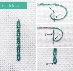 como fazer pontos de bordados passo a passo - Pesquisa Google