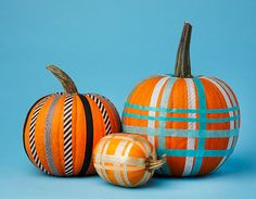 cute unusual way to decorate a pumpkin...can use different papers, ribbon, string/twine, even strings of beads!