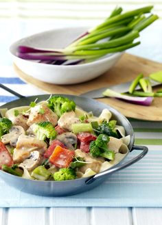 Add a new chicken recipe to your collection! The spring onions and chopped chives used in this recipe bring new flavours to an old classic. Champion Chicken, New Chicken Recipes, New Flavour, Creamy Chicken, Potato Salad, Healthy Recipes, Meals, Dishes, Onions