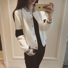 MayFair Striped Varsity-Style Jacket   YESSTYLE