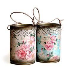 Ideas To Decoupage Tin Can Planters Amazing Ideas To Decoupage Tin Can Planters Shabby Chic Crafts, Shabby Chic Decor, Tin Can Crafts, Diy And Crafts, Owl Crafts, Vintage Upcycling, Decoupage Tins, Decoupage Ideas, Tin Can Art