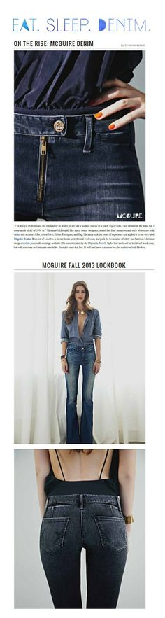 McGuire denim, exposed front zipper, double denim and back pocket arcuate
