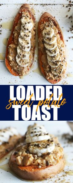 Fun and delicious way to up your #toasttuesday game! This Loaded Almond Butter + Banana Sweet Potato Toast is such a tasty way to start your day!