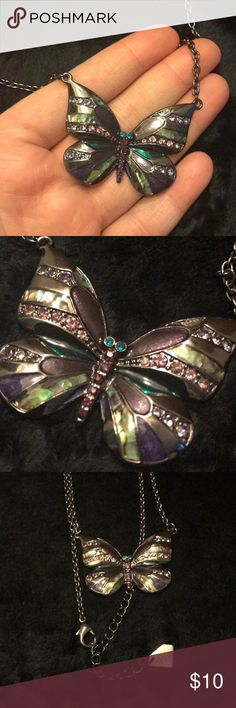 Park Lane butterfly necklace used but beautiful! Multi colored butterfly necklace with adjustable chain! Park Lane Jewelry Necklaces
