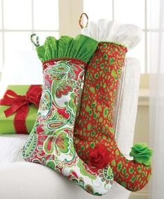 I don't care so much for the elf toes on these stockings but I love the ruffles at the top!