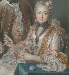 """Portrait of Francois of julienne and his wife Marie Elisabeth de sere de rieux"" (1743) (Retail), by Charles Antoine Coypel (1694-1752)"